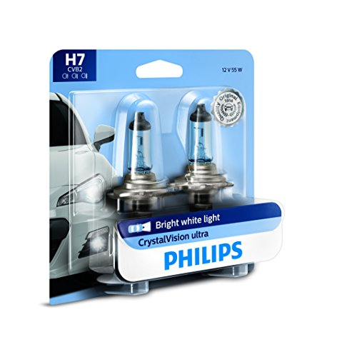 Philips 12972CVB2 H7 CrystalVision Ultra Upgrade Headlight Bulb, 2 Pack (White Halogen Headlamp Bulb)