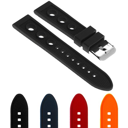 StrapsCo Silicone Rubber Rally Watch Band Strap Compatible with Breitling Superocean
