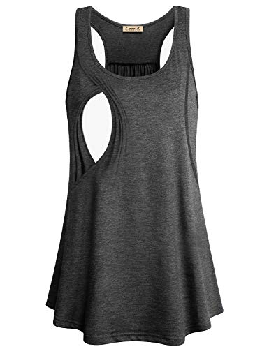 CzzzyL Cotton Nursing Tank, Women Summer Layered Comfy Best Nursing Top Shirt Soft Stretchy Solid Relaxed Fit Round Neck Casual Maternity Nursing Clothing Breastfeeding Plus Size(Grey,Small)