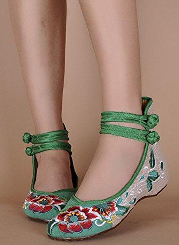 Icegrey Bordado Floral De Tiras De Tobillo Ponte En Los Zapatos Para Las Mujeres Verde