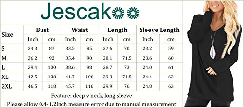 Jescakoo Tunic Tops for Leggings for Women Long Sleeve V Neck T Shirts Casual Loose Fit