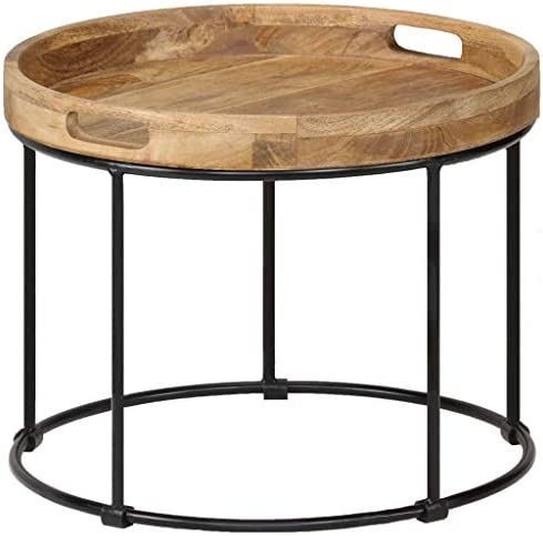 Aanbiedingen Tidyard salontafel mangohout massief en staal 50 x 40 cm meubels tafels siertafels salontafels 2QcCImX