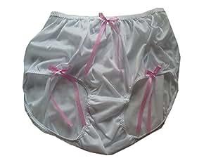 HDBN1073 WHITE Handmade Bow Underwear Nylon Women Ladies briefs Lace L-3XL (XL)