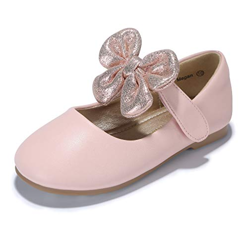 PANDANINJIA Toddler/Little Kids Megan Wedding Party Pink Ballet Flower Mary Jane Girls Flats Dress Shoes ()