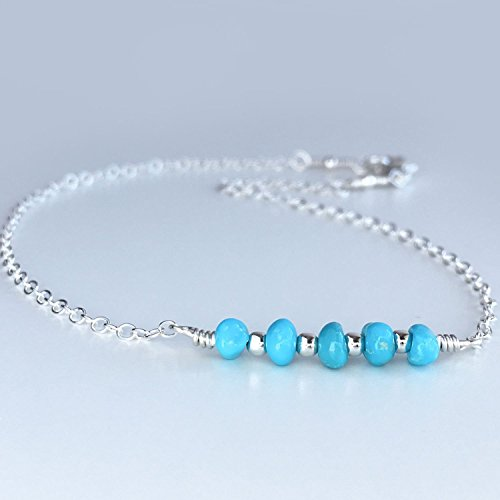 Dainty Kingman Turquoise Ankle Bracelet, Available in Sterling Silver, Gold and Rose Gold