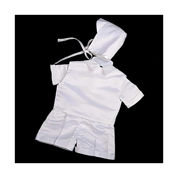 Lito Angels - Set da 4 pezzi, in raso, per battesimo e battesimo, colore: bianco, con cofano da 0 a 12 mesi, manica… 4