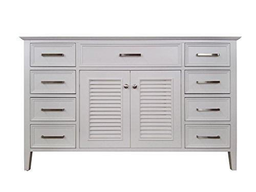 (Ariel Kensington 54 in. Single Rectangle Sink Base Cabinet in White)