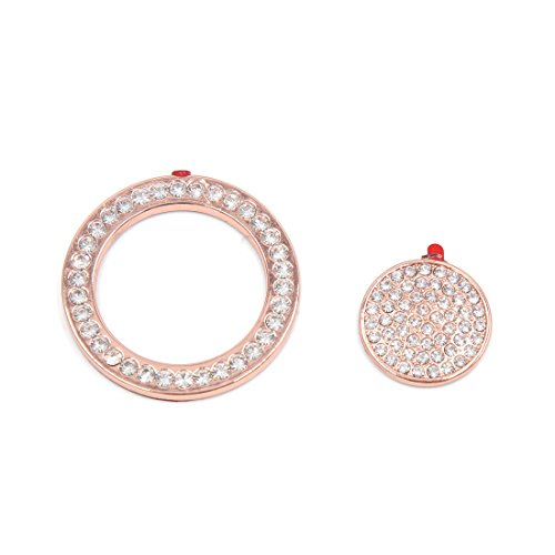 uxcell Rose Gold Tone Faux Diamond Car Start Button Decorative Ring Sticker for Jaguar by uxcell