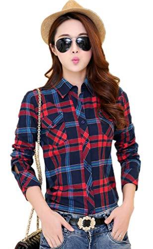 Rouge Manches Tops Femme Bleu Jixin4you Longues Shirt Carreaux Dcontract T Vogue Chemisier Blouse OwFwt7qn
