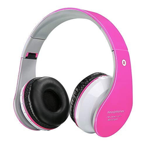 Kids Bluetooth Headphones, Wireless/Wired Foldable Adjustable Lightweight Headset with Mic, Noise Reduction Cancelling, for Phones Computer for Children/Boy/Girl/Teen/Family - Pink