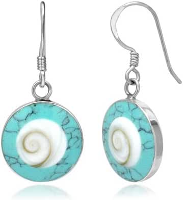 925 Sterling Silver Abalone or Turquoise Shiva Eye Shell Inlay Round Dangle Hook Earrings