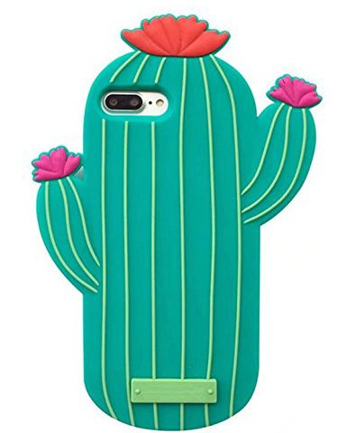 iPhone 8 Plus Case, iPhone 7 Plus Case, TopFunny iPhone 8 Plus 3D Cute Cartoon Cactus Soft Silicone Rubber Protective Cover Shockproof Case for iPhone 7 Plus/iPhone 8 Plus 5.5 Cactus Flower