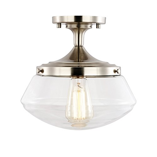 - Light Society Crenshaw Flush Mount Ceiling Light, Satin Nickel with Clear Glass Shade, Vintage Industrial Modern Lighting Fixture (LS-C246-SN)