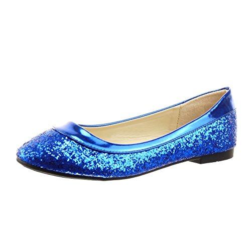 Sopily - Scarpe da Moda ballerina alla caviglia donna paillette verniciato Tacco a blocco 1 CM - soletta sintetico - Blu