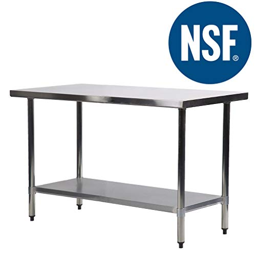 Commercial Kitchen Work Table Scratch Resistent And Antirust Metal Stainless Steel Work Table With Adjustable Table Foot,24 X 48 ()