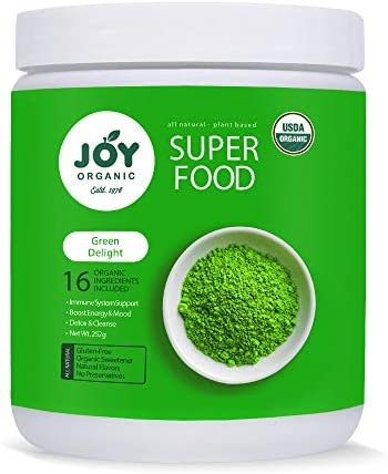 Joy Organic Green Delight Superfood Powder-16 Organic Green superfoods Including Wheat Grass, Spirulina, Matcha Green Tea-Support Immunity, Metabolism, Digestion and Energy-Vegan and Non GMO Formulav