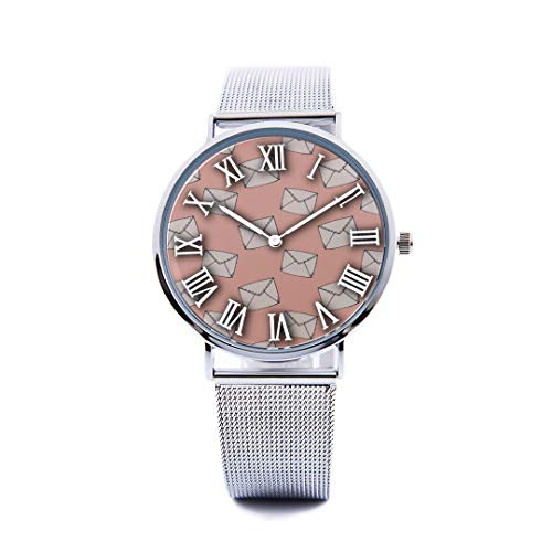 Unisex Fashion Watch Envelope Hand Drawn Creative Love Print Dial Quartz Stainless Steel Wrist Watch with Steel Strap Watchband for Men Women 40mm Casual Watch