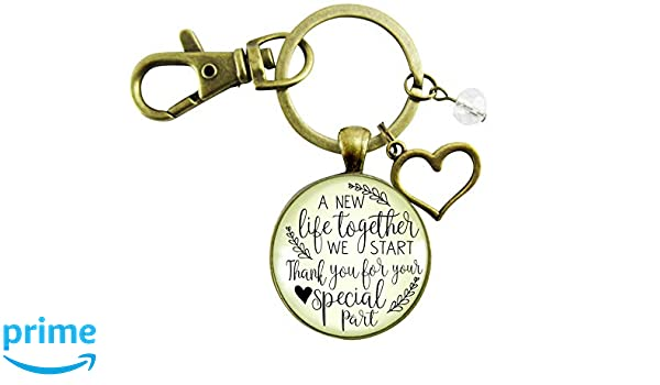 Wedding Officiant Gift Keychain A New Life We Start Rustic Pendant Heart Charm Thank You Card