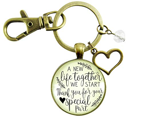 Key Chain Groom Favors Wedding - Wedding Officiant Gift Keychain A New Life We Start Rustic Pendant Heart Charm Thank You Card