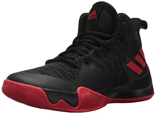 adidas Performance Unisex-Kids Explosive Flash K Basketball Shoe, Core Black, Utility Black Fabric, Scarlet, 6.5 M US Big Kid