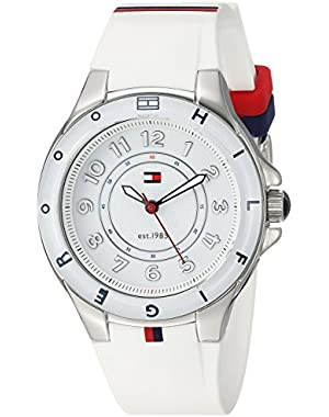 Women's 1781271 Stainless Steel Watch with White Silicone Band