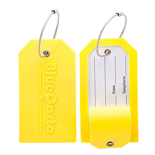 BlueCosto 2 Pack Luggage Tag Label Suitcase Tags Travel Bag Labels w/Privacy Cover - Yellow