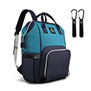 Hafmall Diaper Bag Backpack Waterproof Large Capacity Insulation Travel Back Pack Nappy Bags Organizer, Multi-Function, Fashion and Durable (Navy Blue-Lake Blue)