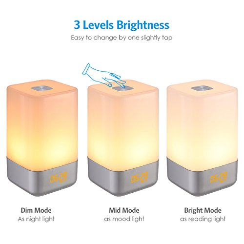AMIR Wake-Up Light Beside Lamp Alarm Clock with Sunrise Simulation, 5 Natural Sounds, Rechargeable, Touch Sensor Multicolor Dimmable Night Light, Simple Design and Healthy Style (Non-Plug in) by AMIR (Image #5)