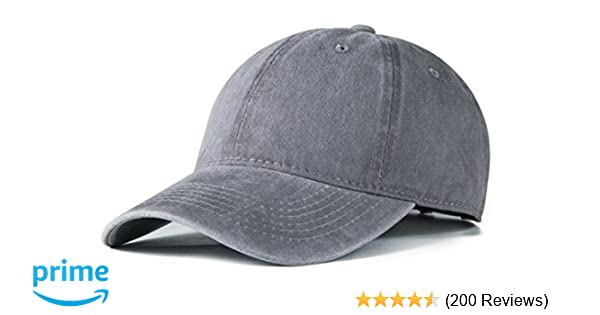 Edoneery Men Women Cotton Adjustable Washed Twill Low Profile Plain  Baseball Cap Hat (Gray) at Amazon Men s Clothing store  d38dbe0c65c8