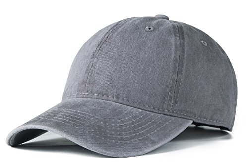 Edoneery Men Women Cotton Adjustable Washed Twill Low Profile Plain Baseball Cap Hat (Grey)