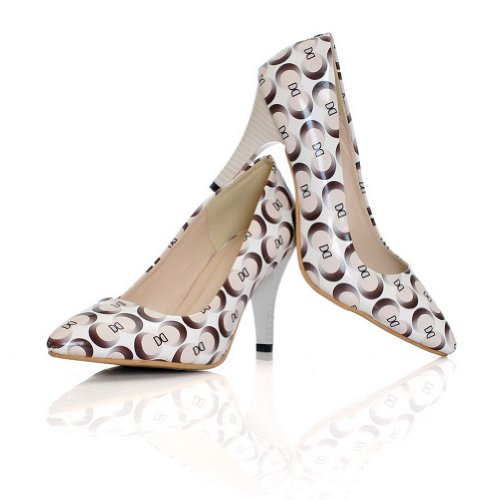PU Womens Toe Heel Solid High Closed VogueZone009 White Pointed Pumps BxdYSZ