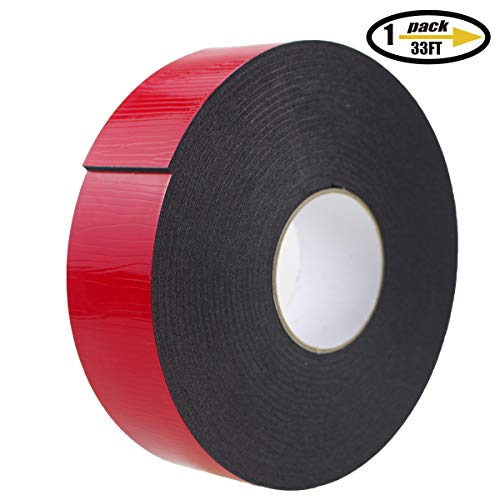 (PE Foam Double-Sided Adhesive Tape -Outdoor and Indoor Super Strong Foam Seal Strip for Automotive Mounting,Weatherproof Decorative and Trim,Car Trim Strip,Photo Frame (Wide 2 in Long 33)