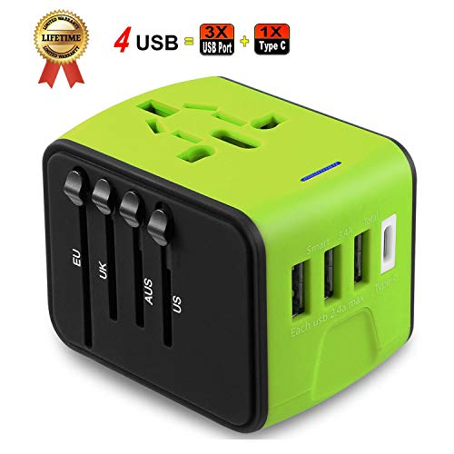 JMFONE International Travel Adapter the Best Universal Power Adapter Perfect Worldwide Plug Wall Charger with Type C 3 USB Port with European UK EU AU US Plugs (green) (Europa Universalis 4 Best Country)