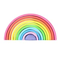 Wooden Rainbow Stacker Stacking TOY Tunnel Arches Block Elements of Nature AIR Wood Stacking & Nesting Rainbow Creative Nesting Educational Toys for Kids Baby Toddlers Learning Waldorf Montessori