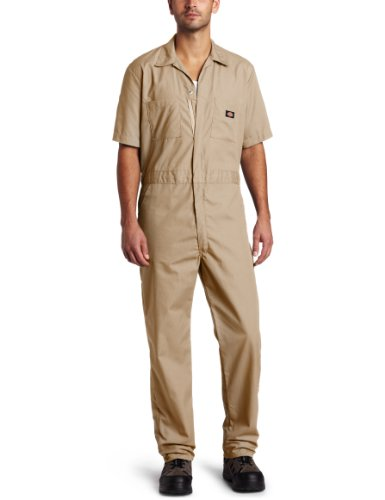 picture of Dickies Men's Short Sleeve Coverall, Khaki, Small Regular
