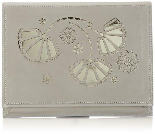 kaviar gauche Lasercut Clutch, Stringate Donna Grigio (Grau (Grey/Gold)