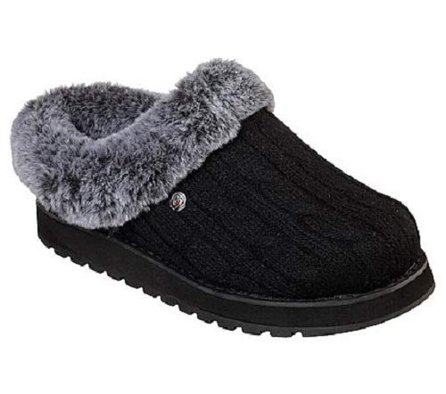 BOBS from Skechers Women's Keepsakes Ice Angel Slipper, Black, 11 W US