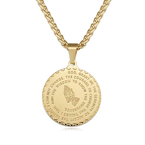 Plated Hands Gold Praying Pendant - Jureeone Bible Verse Prayer Pendant Necklace 18K Gold Plated with Free Chain Worship Religious Christian Jewelry Stainless Steel Mass Praying Hands Coin Medal Personalized