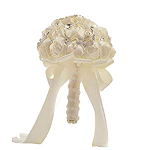 Morrivoe Wedding Bouquet White Crystal Pearl Artificial Silk Roses Flower Bridal Bridesmaid Soft Ribbons Wedding Bouquet 59