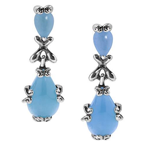 Carolyn Pollack Sterling Silver Blue Jade Gemstone Dangle Earrings