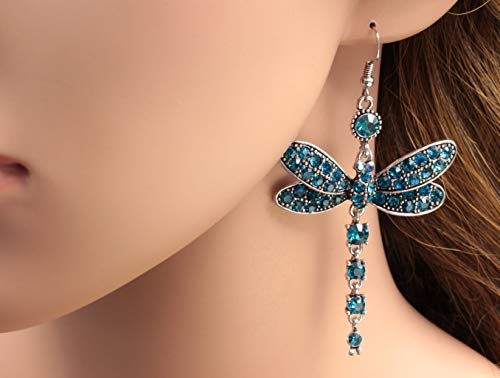 Phetmanee Shop Gorgeous Blue Dragonfly Crystal Rhinestone Girl Silver Plated Hook Earrings B40 ()