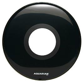 Aquarian Drumheads PTCC22BK Center Ported Bass 22-inch Bass Drum Head, gloss black