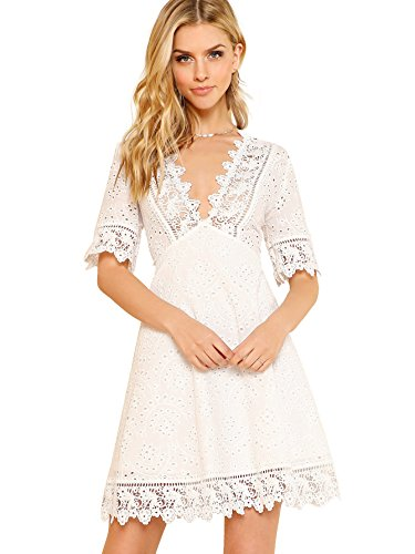 4fc0db0a4ce Romwe Women s Deep V Neck Short Sleeve Lace High Waist A Line Summer Dress  White Small
