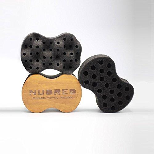 Curl Sponge - Nudred Wooden Interchangeable Sponges Unit for Coils, Curls, and Twists - Natural Hair Twist Sponge Brush