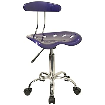 Flash Furniture Vibrant Deep Blue and Chrome Swivel Task Office Chair with Tractor Seat