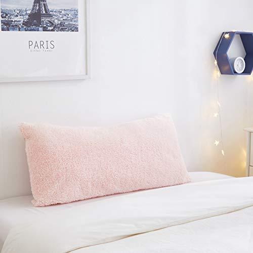 "Pop Shop Marled Sherpa Lumbar Pillow, 18""x38"", Blush"