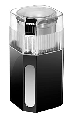 Chefman Coffee Grinder Powerful 250 Watt Electric Mill Freshly Grinds 2.5 oz Beans, Nuts, Seeds, Herbs & Spices, Includes Easy Push Start Button, Stainless Steel Grinding Cup & Blade - RJ44-SQ