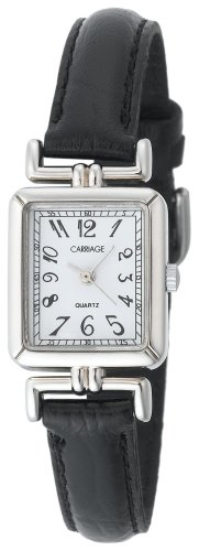 Tone Case Leather Strap (Carriage Women's C2A901 Silver-Tone Rectangular Case Black Leather Strap Watch)