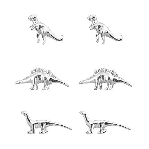 (JANE STONE 6 PCS Mini Dinosaur Stud Earrings Unique Exquisite 3 Pairs of Vintage Set Silver)