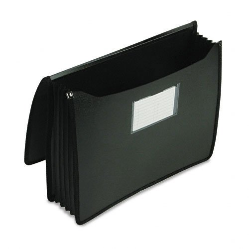 ad - Premium 5 in Expansion Wallets, Poly, Letter, Black - Sold As 1 Each - Acts as a portable attaché case! - Super durable polypropylene. - Generous width allows top tab file folders to fit without bulging side gusset. - Sewn-in, full perimeter reinforced black rubber gusset. - Clear pocket on front includes index card insert. (Expandable Poly Premium Wallets)